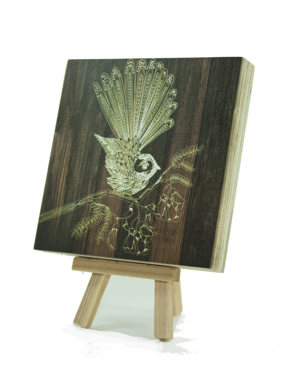 Plywood Art Block : Dark wood Fantail - Kiwi Collections