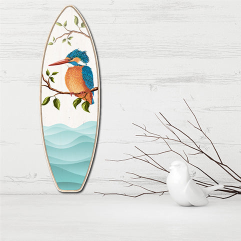 Plywood Surfboard Art: Kingfisher - Kiwi Collections