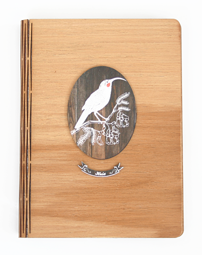 Bamboo Journals: Printed Dark Wood Huia - Kiwi Collections