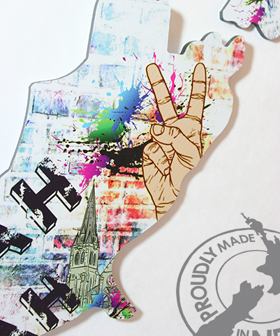 ACM Art NZ Map-Grafiti Design - Kiwi Collections