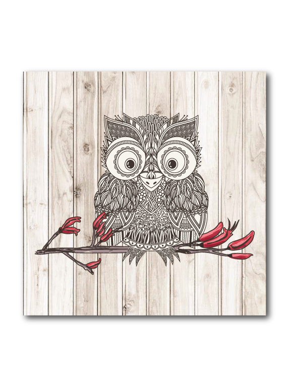 Plywood Art Block : Light wood Morepork - Kiwi Collections