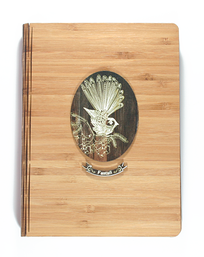 Bamboo Journals: Printed Dark Wood Fantail - Kiwi Collections