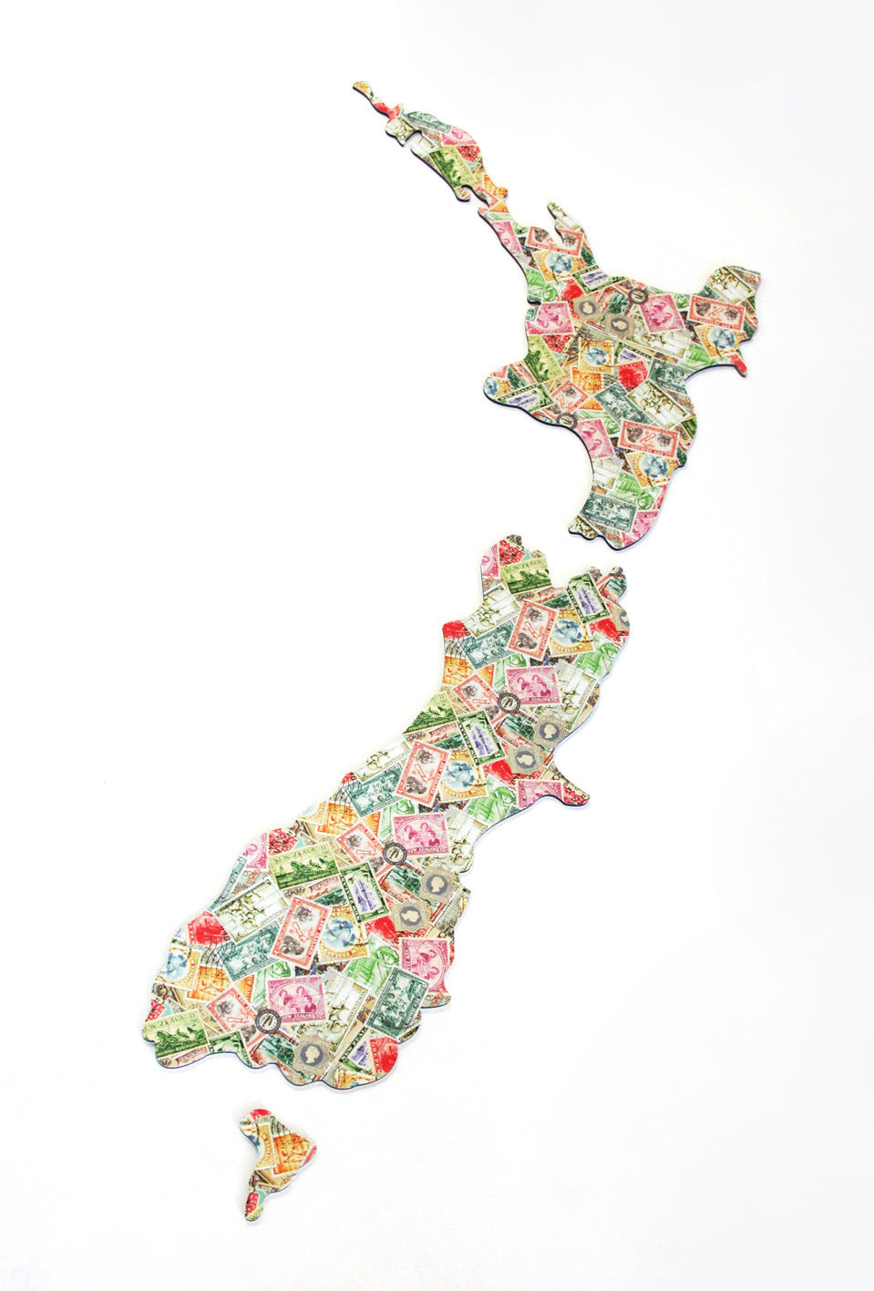 ACM Art NZ Map-Vintage Stamps Design - Kiwi Collections