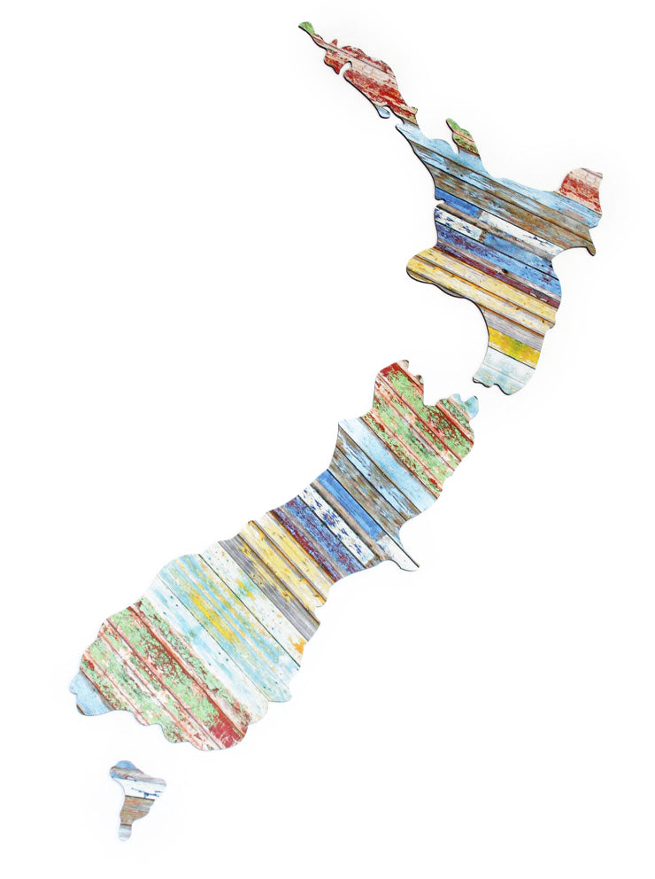 ACM Art NZ Map-Aged Timber Design - Kiwi Collections