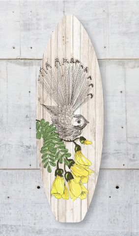 Plywood Surfboard Art : Zentangle fantail (Plank) - Kiwi Collections