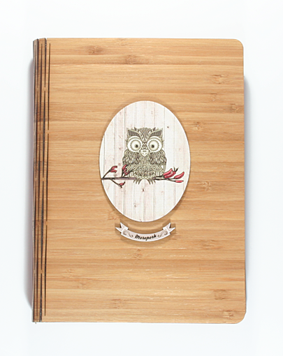 Bamboo Journals: Printed Light Wood Morepork - Kiwi Collections