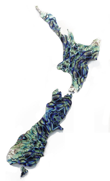 ACM Art NZ Map-Small Paua Design - Kiwi Collections