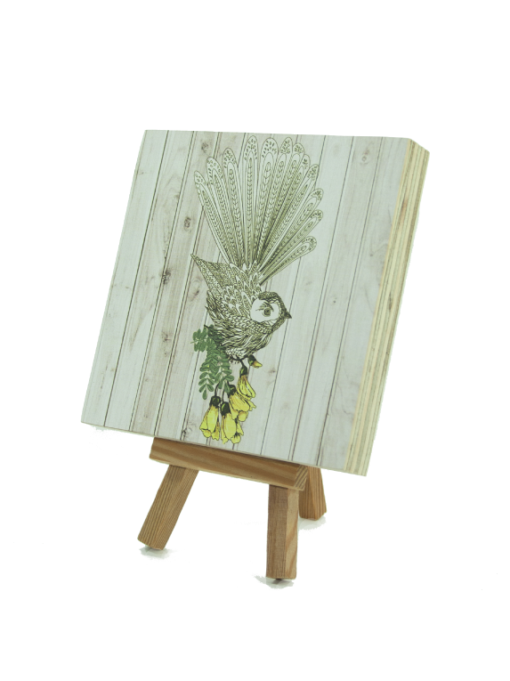 Plywood Art Block : Light wood Fantail - Kiwi Collections