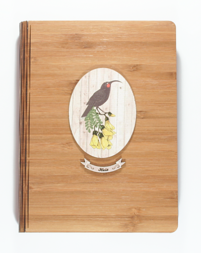 Bamboo Journals: Printed Light Wood Huia - Kiwi Collections