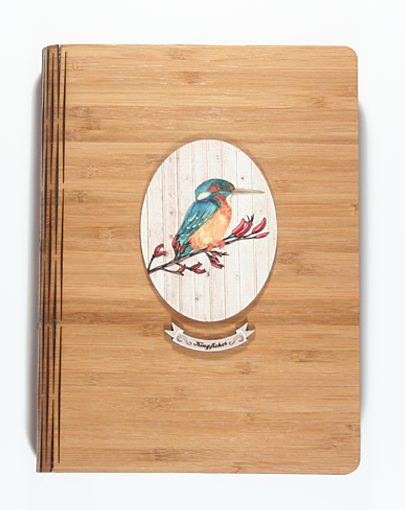 Bamboo Journals: Printed Light Wood Kingfisher - Kiwi Collections