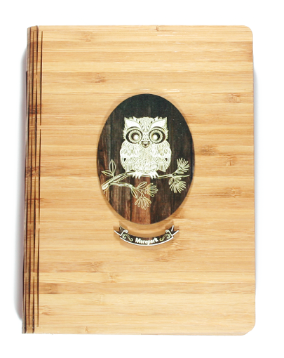Bamboo Journals: Printed Dark Wood Morepork - Kiwi Collections