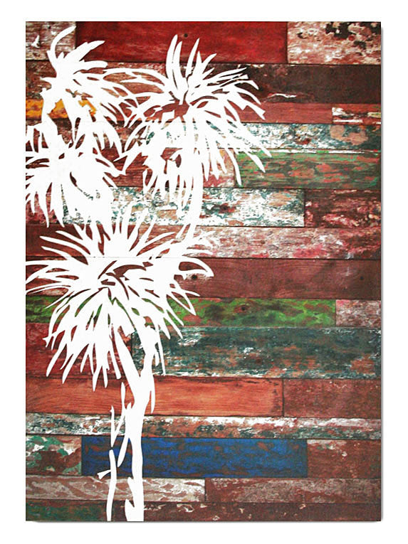 Wood Plank Art Rectangle : Cabbage Tree - Kiwi Collections