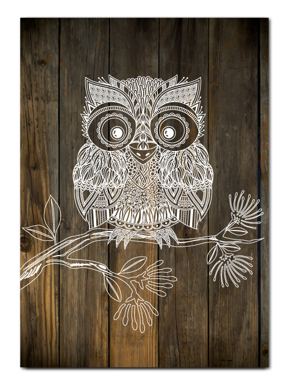 Plywood Art Rectangle : Dark Wood Morepork - Kiwi Collections