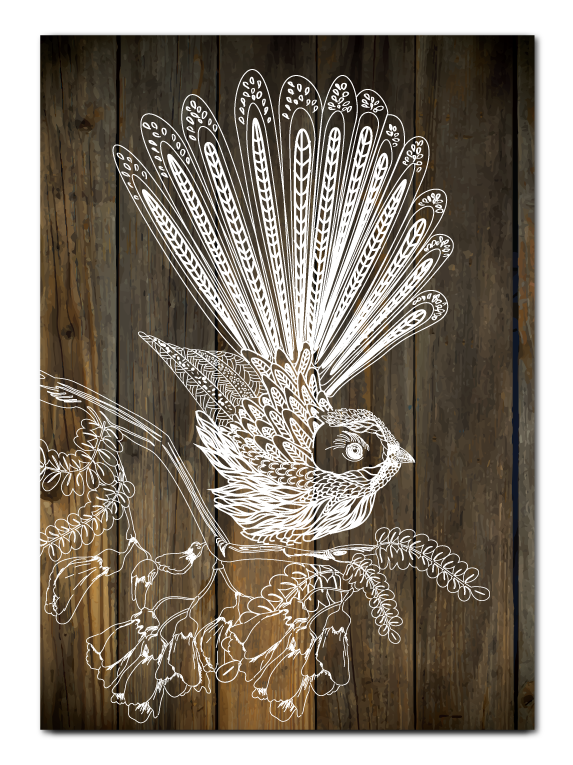 Plywood Art Rectangle : Dark Wood Fantail - Kiwi Collections