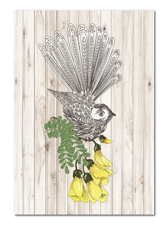 Plywood Art Rectangle : Light Wood Fantail - Kiwi Collections