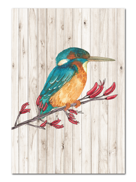 Plywood Art Rectangle : Light Wood Kingfisher - Kiwi Collections