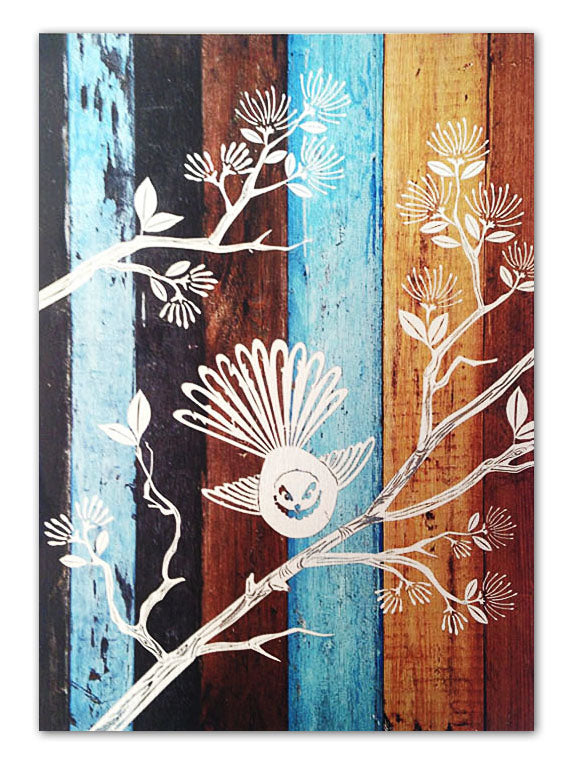 Wood Plank Art Rectangle : Fantail - Kiwi Collections