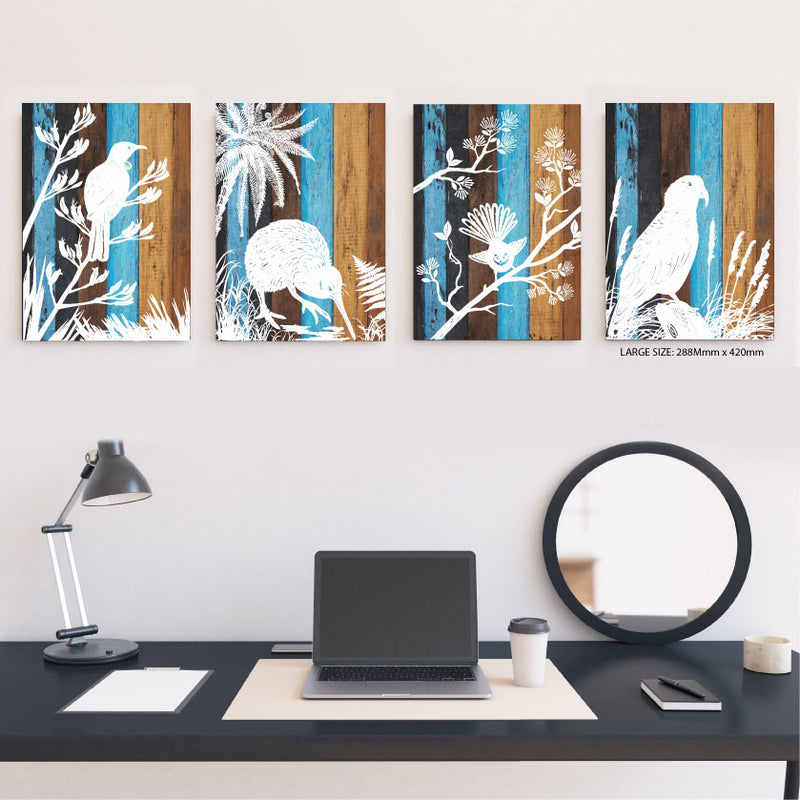 ACM Rectangle Art : Aged Timber Tui - Kiwi Collections