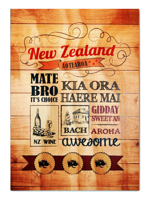 Plywood Art Rectangle : Kia Ora NZ - Kiwi Collections