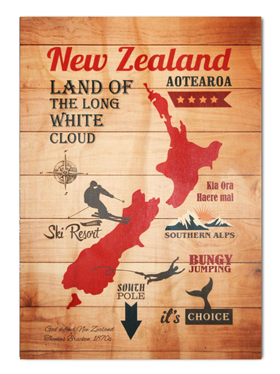 Plywood Art Rectangle : NZ Adventure - Kiwi Collections