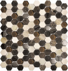 "Luxor Brown 1"" Hexagon"