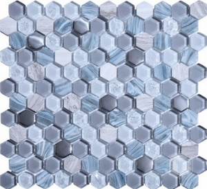 "Luxor Grey 1"" Hexagon"