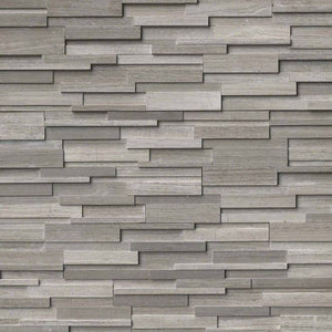 Gray Oak Panel 3D Honed 6x24 Ledger