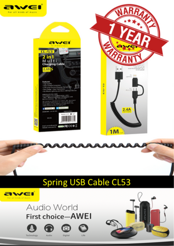 AWEI CL-53 '2 in 1' Charging Cable for iPhone/iPad & Micro USB