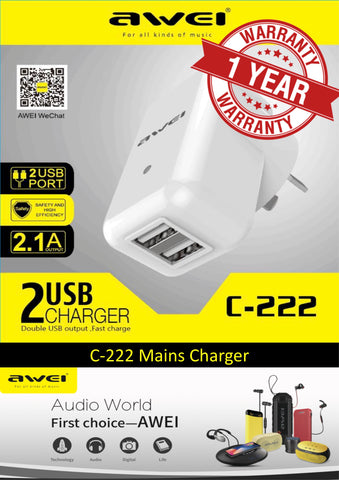 AWEI C-222 '2-USB' Multifunctional Charger Adapter NZ Plug 2.1A & 1A Quick Charging