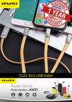 AWEI CL-21 '3in1' Charging Cable for iPhone/iPad, Micro USB & Type-C