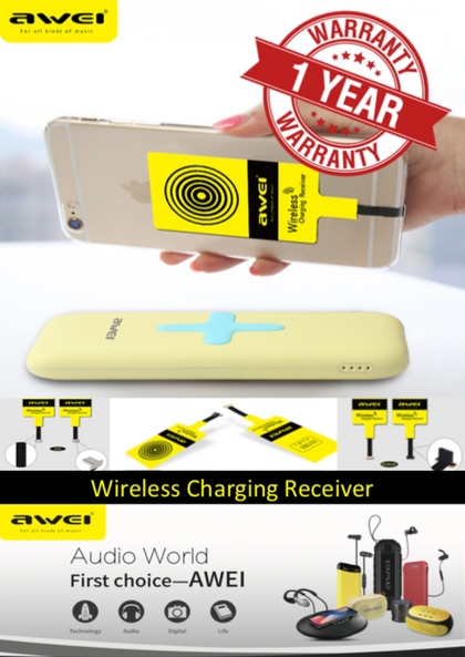 AWEI Wireless Charging Receiver for iPhones and Android Mobile Phones with Micro USB Port