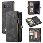 CaseMe-008 Magnetic Detachable 2 in 1 Multi-functional Retro Zipper Wallet Case For Samsung