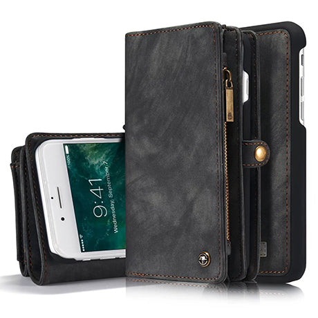 CaseMe-008 Magnetic Detachable 2 in 1 Multi-functional Retro Zipper Wallet Case For iPhone