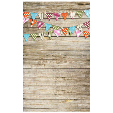 Wood and Bunting Festive Backdrop