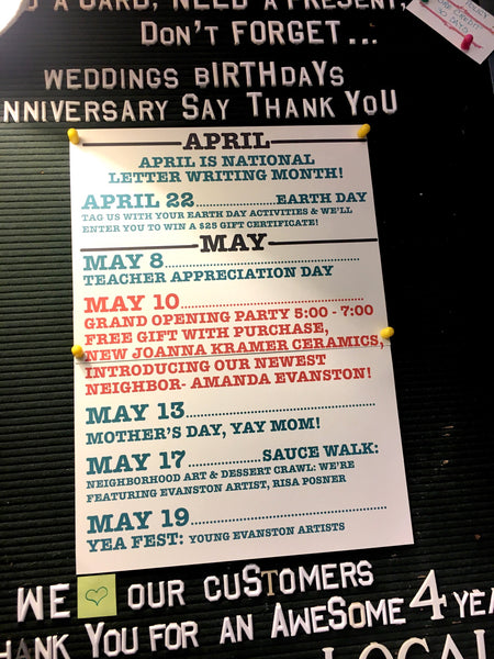 Stumble & Relish Evanston April May Events Calendar