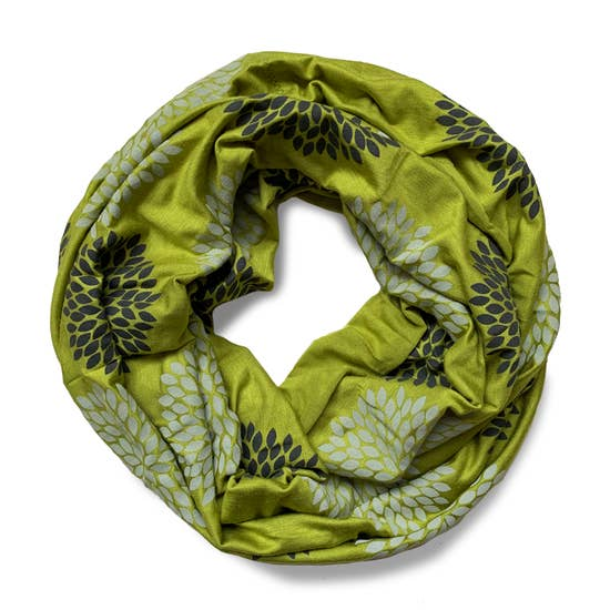 Double Flowers on Avocado Infinity Scarf
