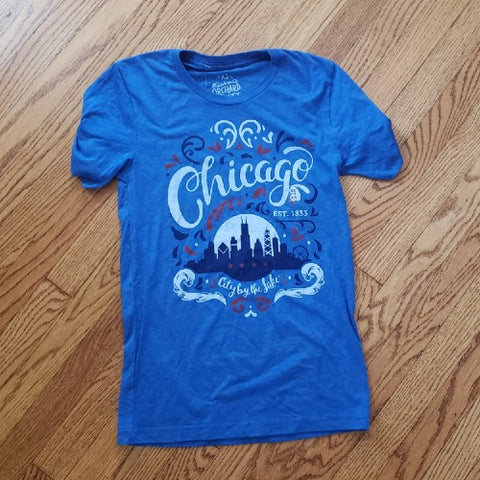 ***SALE*** Blue Chicago Flourish Tee