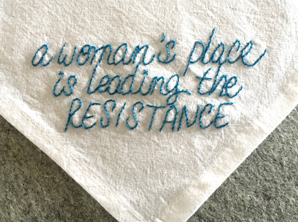 A Woman's Place is Leading the Resistance Tea Towel