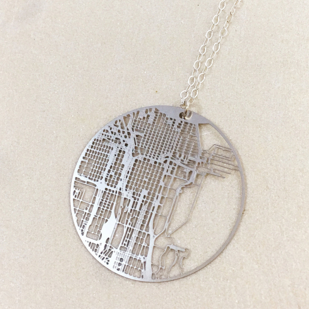 Chicago Map Necklace Stumble  Relish - Chicago map necklace