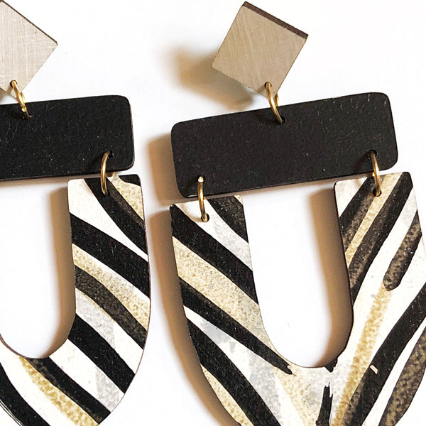Abby Earrings in Zebra