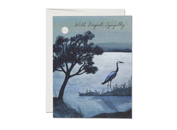 With Deepest Sympathy Blue Heron Card