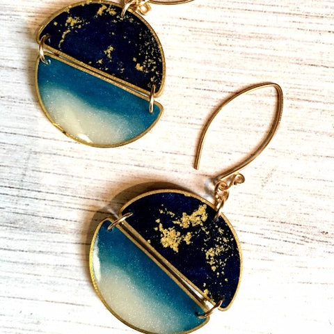 Lightweight Brass & Resin Earrings