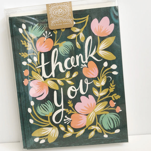 Floral Thank You Box of 8 Blank Cards