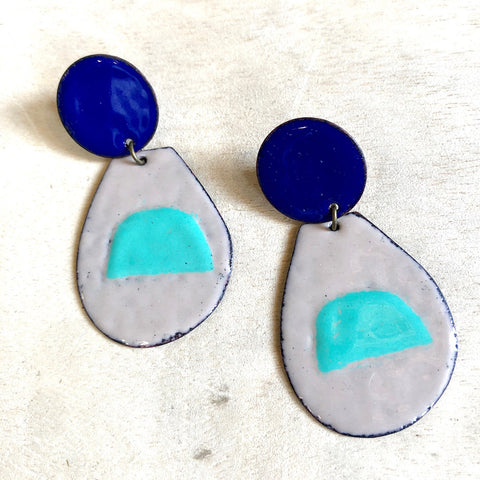 Pop of Turquoise Enamel Earrings