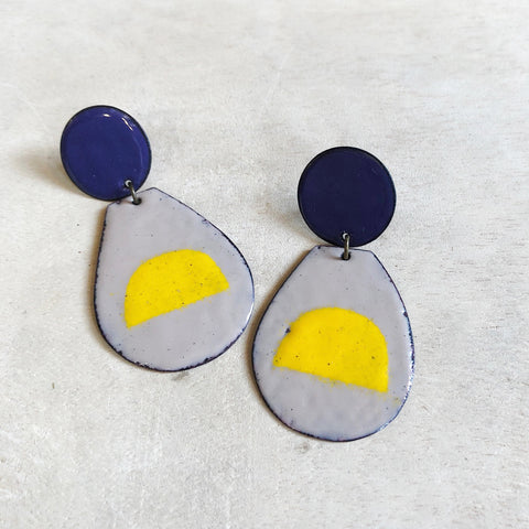 Pop of Yellow Enamel Earrings
