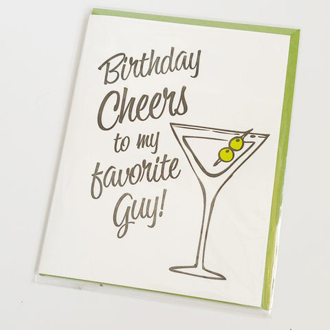 Martini Birthday Cheers To My Favorite Guy Card