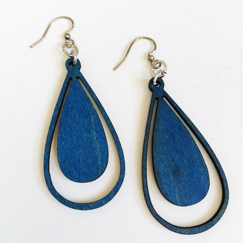 Double Drop Wood Earrings