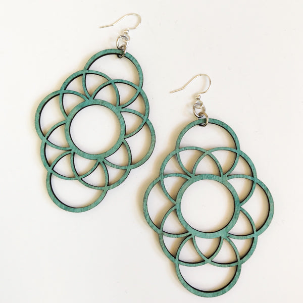 Geometric Circle Wood Earrings