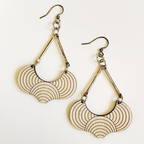 Scallop Drop Wood Earrings