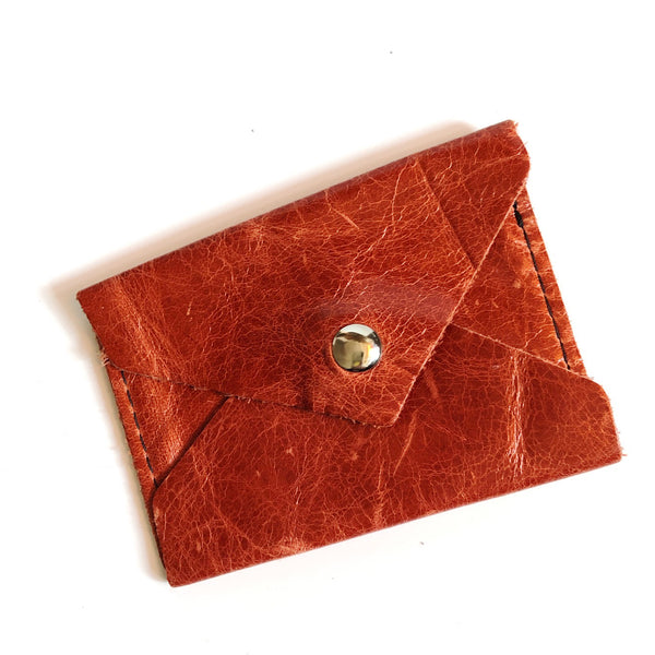 Rust Leather Business Card Wallet